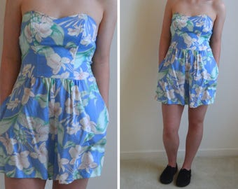 1980s Romper // Hawaiian, Strapless Romper with Pockets // Vintage 80s Playsuit