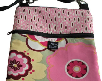 Funky Retro Pink Yellow Flowers Daisies Polka Dots Fabric iPad Kindle Nook E Reader Passport Travel Messenger Bag Sling Washable -First Kiss