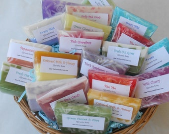 30 Soap Samples - Variety Soap Grab Bag - Glycerin Soap Favors Mystery Box - Bridal Shower Favors Soaps