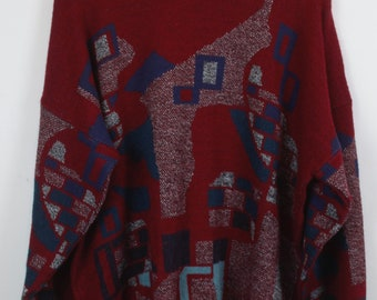 Vintage Sweater, Vintage Knit Pullover, 80s, 90s, red and blue, oversized look