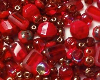 Red Hots  - Premium Czech glass Beads  - 25 beads