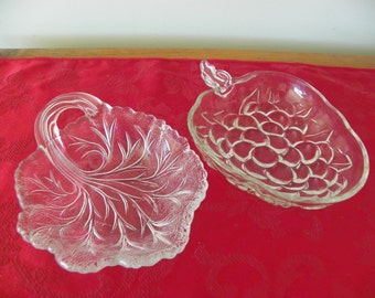 CLEARANCE!  Vintage Glass Jewelry Trinket Dish, Choose One or Both, Grape or Leaf Design