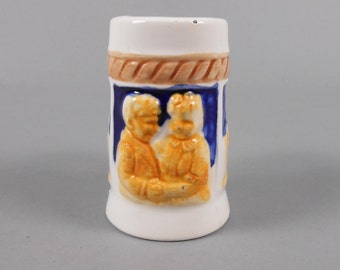 Miniature Beer Mug Toothpick Holder Blue and Yellow 1950's Barware