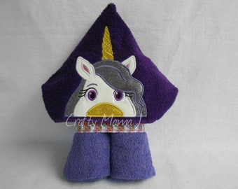 """Purple Unicorn Hooded Bath Towel! 10"""" Hood. READY TO SHIP. Can be personalized. Perfect gift for Child or Adult."""