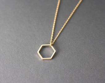 Hexagon necklace - Open Hexagon necklace - gold hexagon necklace - geometric necklace