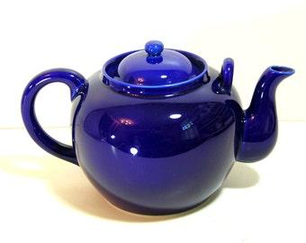 Théière, théière en grès, grande théière en grès bleu cobalt