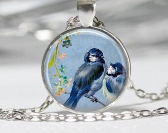 Blue Birds on a Branch Jewelry Bird Necklace