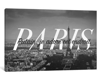 iCanvas B/W Paris Love Gallery Wrapped Canvas Art Print by 5by5collective