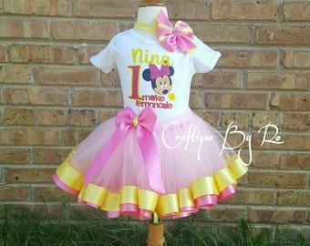 Minnie Mouse Inspired Tutu - Minnie Mouse Pink Lemonade Stand Ribbon Trimmed Tutu Set - Pink Lemonade Tutu Set
