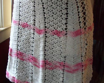 Pink and White Crochet Half Apron Vintage Apron Kitchen Fashion Handmade  Medium