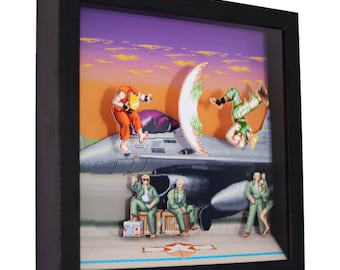 """Super Street Fighter 2 (Guile Stage) - 3D Shadow Box (9"""" x 9"""")"""
