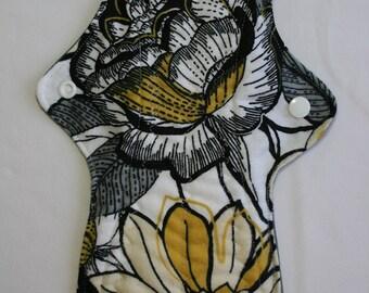 ZORB Kiki Mama Cloth Menstrual Pad Overnight 12 in Size Flowers Yellow Black Grey Gray