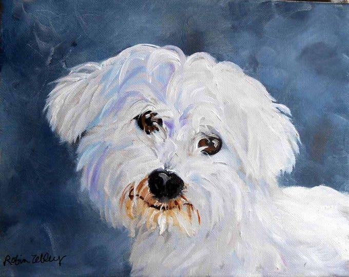 "Oil Painting of Dog, 8"" x 8"" square, custom Pet Portrait"