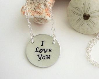 """Hand stamped sturdy """"I Love You"""" necklace,circle pendant & adjustable silver chain,lovers, sister, aunt, valentine, mother, daughter, friend"""