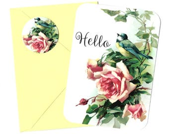 Greeting Cards, Blue Bird & Roses, Vintage Style, Note Card Set, Stickers