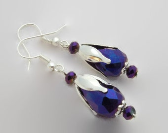 Earrings red beads purple glass drops and faceted made hand