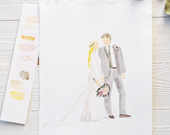 Custom Watercolor Wedding Portrait Bride and Groom Illustration