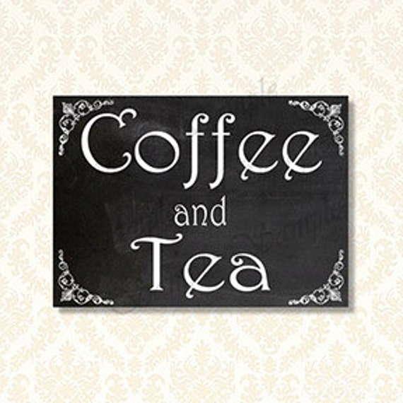 Printable Coffee And Tea Sign Bridal Shower Brunch Signs