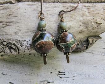 Tibetan dZi Agate Stones    Zen   Earthy   Organic   Natural Stone Earrings   Healing Stone Jewelry   Limited Edition   Earrings Under 20