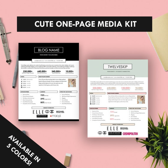 Cute OnePage Media Kit Template Press Kit Pastel Black