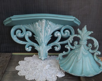 Upcycled Wall Decor/Set of 2/Wall Shelf and Wall Pocket/Distressed/Turquoise Blue/Home Decor/Home and Living/Shabby Chic/Cottage Chic/Beach