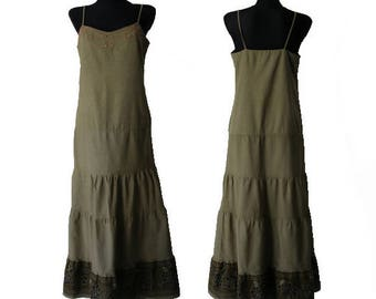 Vintage Khaki Dress Summer Cotton Dress Size S/M