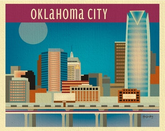 SALE Oklahoma City 8x10 Print, Oklahoma City Skyline, Oklahoma Wall Art, Oklahoma nursery art, Oklahoma Artwork - style E8-O-OKL