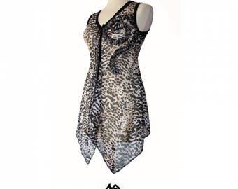 Sail mesh very creative Style asymmetrical leopard jersey tunic size 38-40