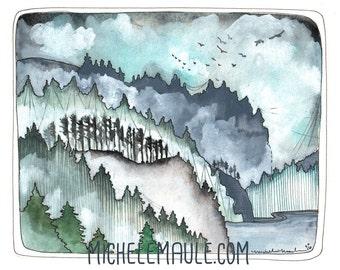 Oregon Coast Art - Pacific NW Coast Art - Oregon Art - Pacific Northwest Print - Print of Watercolor Painting - Northwest Coast