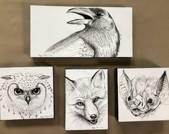 Woodland animal art