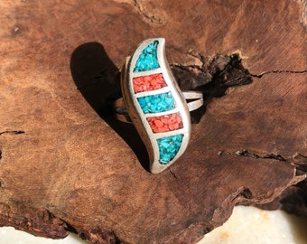 Vintage Navajo Genuine Turquoise and Coral Sterling Silver Ring Size 6