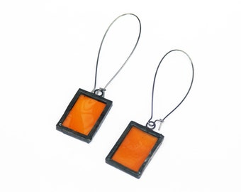 Stained Glass Earrings - Amber