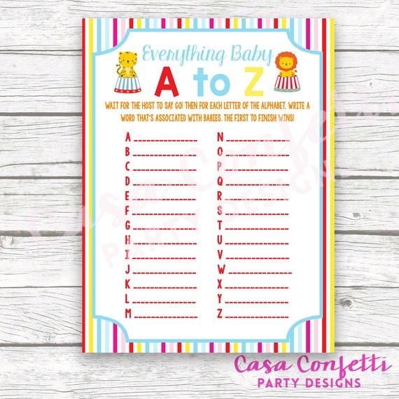 Circus Baby Shower Game Everything Baby A To Z Card Striped