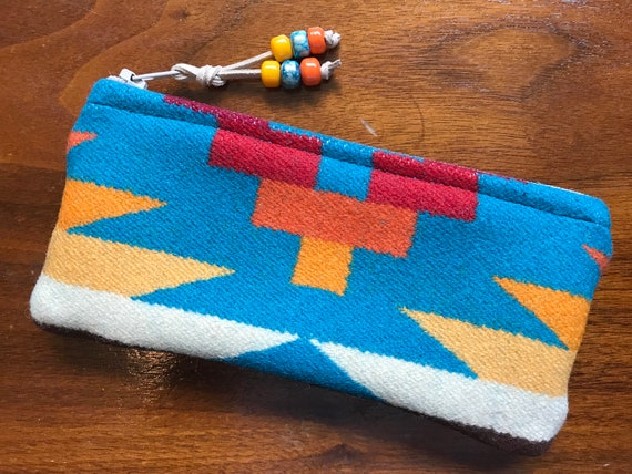 Wool Glasses  Case / Tampon Case / Zippered Pouch Turquoise Rio Rancho