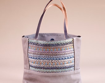 Gray Leather Embellished Tote Bag - Grey Leather Crossbody Bag - Leather Tote Bag - Beaded Embroidered Tote Bag