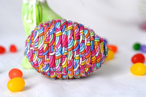 Easter Bowl Filler, Rainbow Egg Ornament, Handmade Easter Egg Decoration, Basket Filler, Hand Coiled Fiber Easter Egg, Coiled Fabric Egg