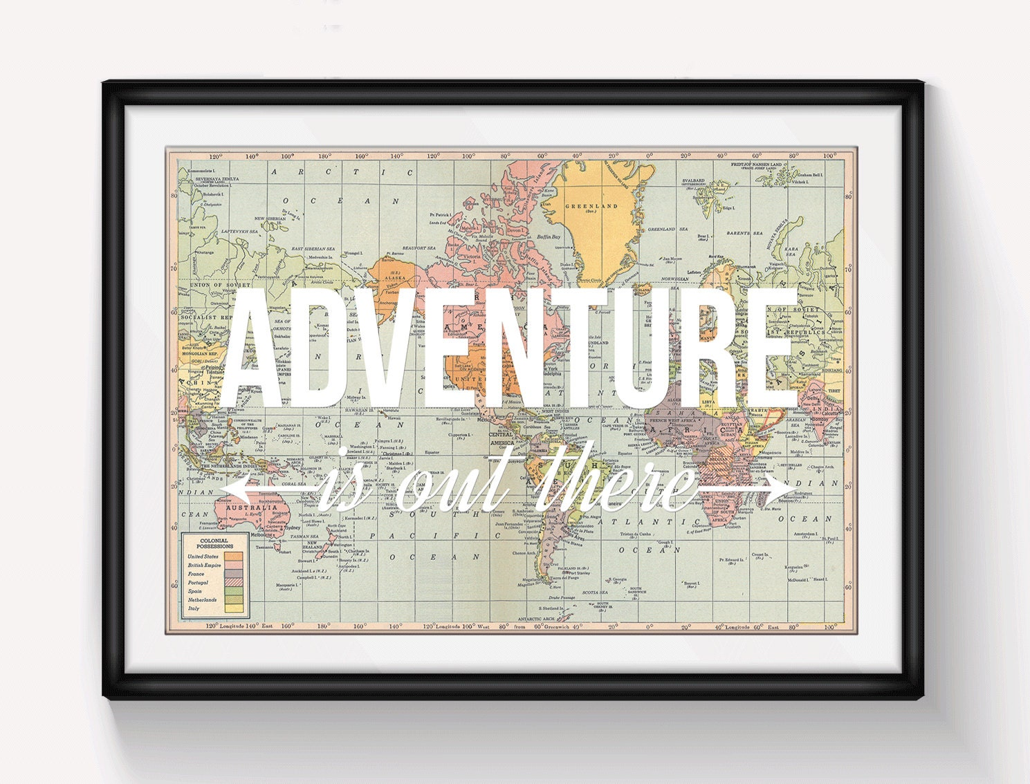 World map poster adventure is out there map of world print zoom gumiabroncs Images