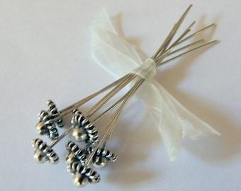 Antiqued Silver Fancy Head Pin