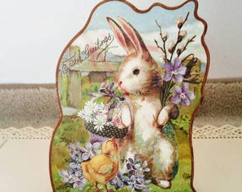 Vintage Easter Music Box Easter Greetings Wood Cut Away Card Music Box Plays Easter Parade Holiday Easter Bunny Rabbit Chick Flower Basket