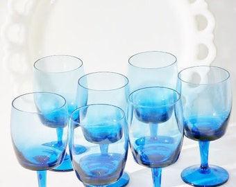 Gorham Crystal Water Goblets Accent Pattern Blue 7
