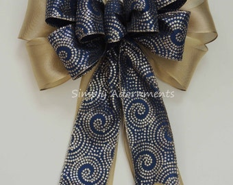 Gold Navy Christmas Bow Navy Gold Wreath Bow Navy Gold Church Aisle Pew Bow Gold Navy Wedding Pew Bows Wedding Chair Bow Ceremony Decor Bow