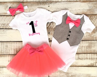 Twins First Birthday Outfits, Boy and Girl Twins, Our First Birthday, Matching Outfits, Grey Vest with Pink Bow Tie, Pink TuTu Skirt