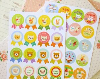 Toto Rabbit & Cat cartoon animal stickers