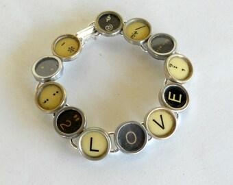 Jewelry with Typewriter Keys - Typewriter Key Bracelet- LOVE - Reclaimed Jewelry- Vintage