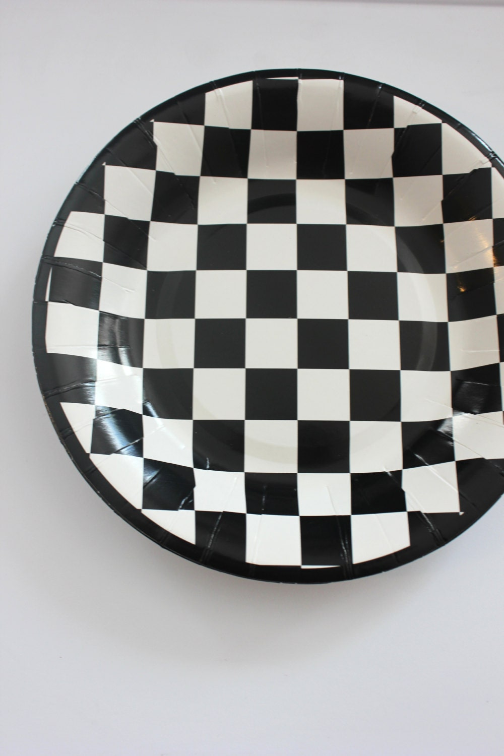 $12.00 & 16 BLACK And WHITE CHECKERED Paper Plates Cars Racecar Checkers ...