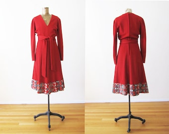 Cleopatra Broumand Dress 70s Boho Dress Folk Embroidered Midi Dress Long Sleeve 1970s Bohemian Dress Crimson Wool Holiday Dress Hippie Dress