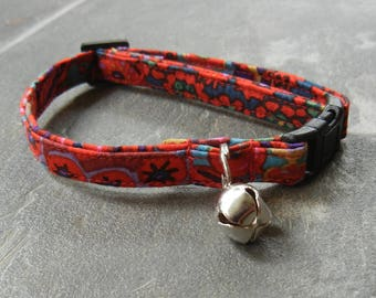 Kaffe Fassett modern red cat collar