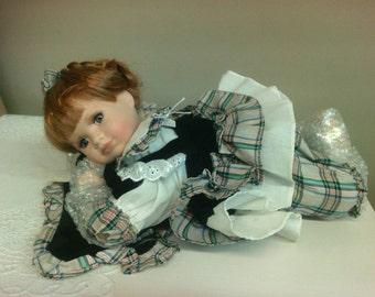 Knightsbridge Collection.  Limited Edition Porcelain Doll with Pillow. Girl.