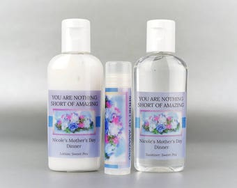 Personalized. Happy Mother's Day. 1 oz lotion/sanitizer/lip balm set