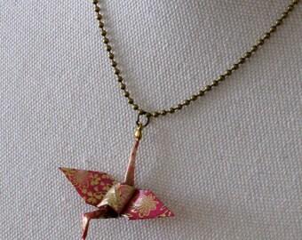 origami pink crane necklace
